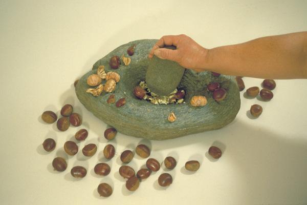 石皿と磨石(山根遺跡出土)