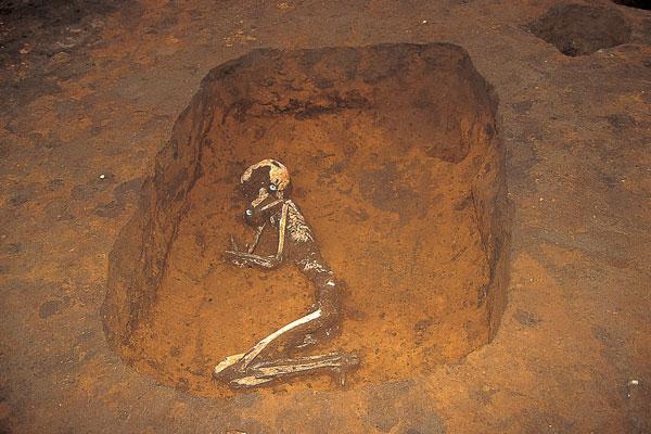 土坑墓での埋葬状況